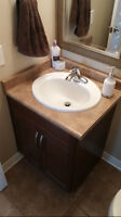 """26""""Bath Vanity( left corner) with sink and faucet"""