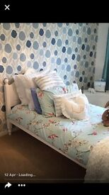 Upcycled single bed frame in white chalk finish