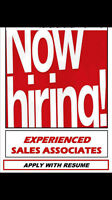 Experienced Sales Associate Needed F/T P/T