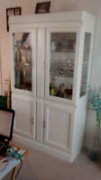 Solid white Wood  china Cabinet needs to be gone asap