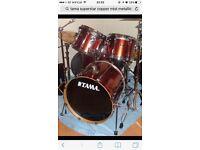 Tama Superstar drum kit in Copper Mist. Fusion sizes