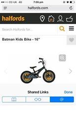 """Boys 16"""" batman bike and helmet"""