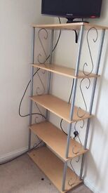 Silver and beech shelving unit