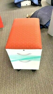 Allsteel Steel Metal White 2 Drawer Rolling File Cabinet Pedestal With Cushion
