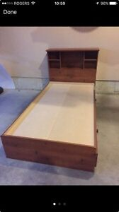 Single Bed with Drawer Storage & Bookcase Headboard