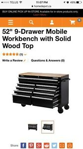 "52"" 9 Drawer Mobile Work Bench With Solid Wood"