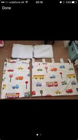 Tab top boys cars curtains with Blackout lining. W168 x L137