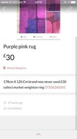 Carpet Rug pink purple new