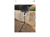Caravan satellite dish, stand and sat finder