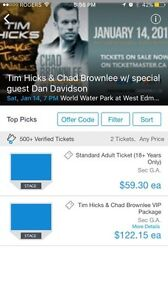2 Tickets  To Tim hicks and chad brownlee