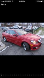 Mercedes C 250 red coupe