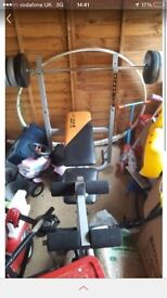 Weight bench & lots of weights too