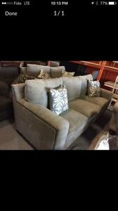 Two piece fabric sofa set. Set includes extra larg