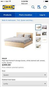 Qn. malm bed, 4 drawers, wh. oak
