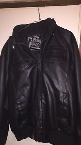 Black buffalo leather coat and silver jeans Prince George British Columbia image 1