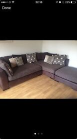 Brown suede/fabric corner sofa