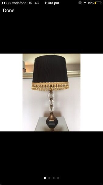 Black and gold lamp cushions etc