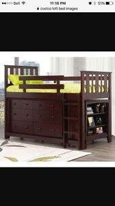 Youth loft bed with dresser and bookshelf