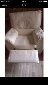 Cream leather reclining chair