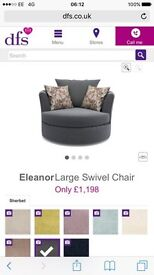Large swivel chair from dfs in graphite with footstool