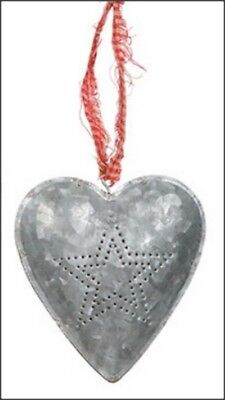 Tin Heart with Hammered Star Design and Red Fabric Cord - Very Large Pendant Large Heart Tin