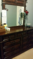 Couch, desk, dining table & chairs, dresser and end tables