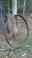 rustic Old metal wagon wheel rings for flower garden bed or yard