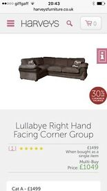 Right hand corner sofa from Harvey's lullabye RRP £1,500 year old great condition