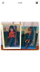 2 vintage retro prints possibly by Paris artist Michael T Thomas.