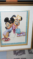 Vintage 3d paper tole Mickey & Minnie Mouse framed picture