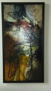 Painting - Michel Belleau - black and red abstract