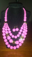 Pink Bead Necklace with Earrings
