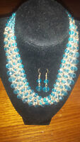 Baby Blue Bead Necklace with Earrings