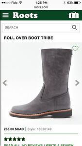 Roots roll over tribe leather boots