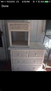 White wicker dresser and  night table.