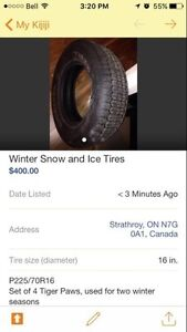 Winter snow and ice tires London Ontario image 1