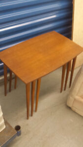 teak nesting , hardwood corner table/storage  +++