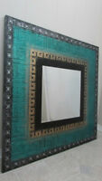 Turquoise, Black, Silver, & Gold Square Mirror
