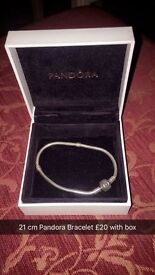 Genuine Pandora Bracelet, Charms and Safety Chain with box and bags