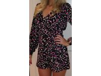 Playsuit black and pink size 10