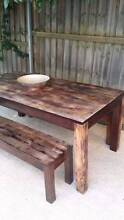 Solid Timber Dining Table & Benches Distressed Finish 6-8 Seater Coogee Eastern Suburbs Preview