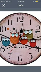 Round silent owl clock for sale!!