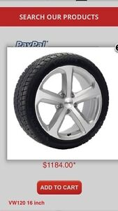 Winter package (tires on wheels) for 2016 VW Passat / Beetle.
