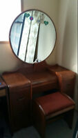 Antique Vanity Dresser with stool and Highboy