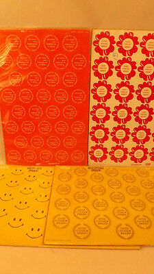 132 Vtg Classroom Awards, Smiley Face, Friend ,Birthday Citizen 1972 NOS - Classroom Awards