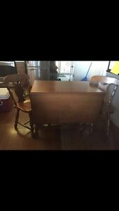 Drop leaf table + chairs
