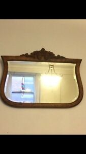 Antique mirror with carving