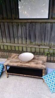 Coffee Side Table W Shelf Solid Distressed Timber Coogee Eastern Suburbs Preview