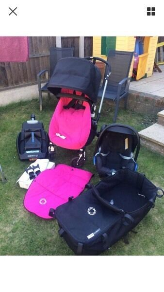 Bugaboo cameleon girls pink pram buggy travel set car seat isofox coasy toes chameleon