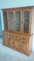 MAPLE CHINA CABINET, DISPLAY CABINET - EXCELLENT SHAPE -DELIVERY